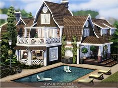 The Sims 4 Lots, Patio Installation, Sims 4 House Plans, Sims 4 House Design, Model House Plan, Sims Ideas, Patio Gazebo, Sims 4 Build, Sims 4 Houses