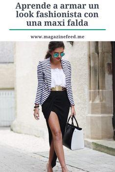 Es momento de conquistar el street style!  Femeninas, discretas, bohemias y ultra chic, ¡así es la maxi falda! Esta prenda es multi versátil, ya que la puedes combinar literalmente con casi cualquier prenda. Chic, Outfits, Style, Fashion, Maxi Skirts, Bohemian, Short Dresses, Outfit, Feminine
