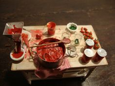 Miniature table set up prepare the italian by bagusitalyminiatures