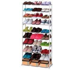 30 Pair Shoe Rack Tower 10 Tier Shelf Stand Unit White for sale Shoe Rack Tower, Shoe Storage Rack, Shoe Shelves, Cupboard Storage, Shoe Organizer, Stackable Shoe Rack, Shoe Hanger, Shoe Stretcher, Shelf Holders