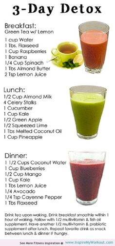 This 3 day #detox #diet cleans your system & leaves you with lots more energy! - Featured @ www.InspireMyWorkout.com -
