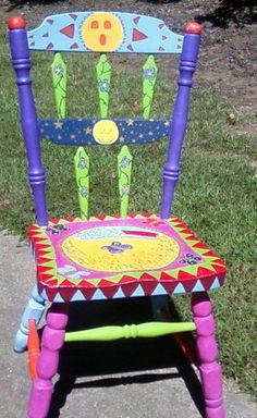 Hand painted eclectic chair by MissEllenJoy on Etsy, $115.00