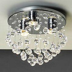 Modern 3 - Light Flush Mount Lights with Crystal Beads - USD $ 199.99