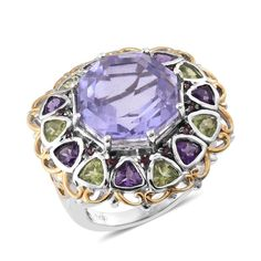 Stained Glass SUGAR by Gay Isber Multi Gemstone Ring in 14K YG and Platinum Overlay Sterling Silver Nickel Free (Size 8.0) TGW 21.740 cts.