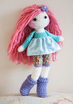 Pink hair crochet doll, made by me :)  www.linamariedolls.etsy.com   -------- tags: rag doll, crochet doll, handmade, soft doll, plush doll, tejido, muñeca tejida, pink hair, wool yarn, pink wool