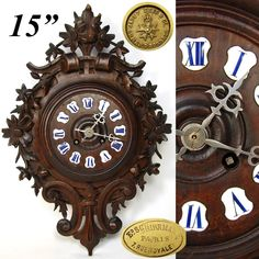 Antique Japy Freres Marked Black Forest 15' Parlor Clock, Enamel Numerals Antique Clocks, Wood Carvings, How To Antique Wood, Black Forest, French Antiques, Enamel, Watches, Picture Clock, Timber Wood