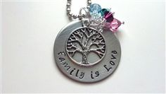 $24.99  Family is Love Necklace -- Choose up to 6 colored birthstones to customize your necklace.  www.SassyRiley.com