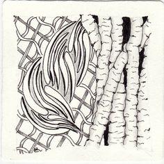 Ein Zentangle aus den Mustern Birch, Pladzy, Ududu,  gezeichnet von Ela Rieger, CZT