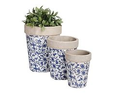 Set de 3 maceteros de cerámica Flores – azul y blanco