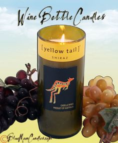 Reclaimed Wine Bottle Candles by BlueMoonCandles on Etsy, $23.00  #candles #wine #reclaimed