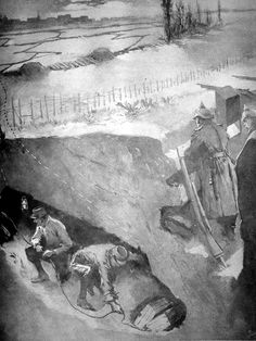 """French WW1 """"Setting explosives under German trenches"""""""