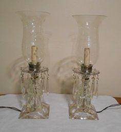 Antique/Vintage Working Pair Lamps Crystal Prisms Glass Bedroom Table Vanity