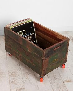 Urban Outfitters Exclusives Vintage Wood Rolling Cart from Urban Outfitters | BHG.com Shop--could so make a look-a-like