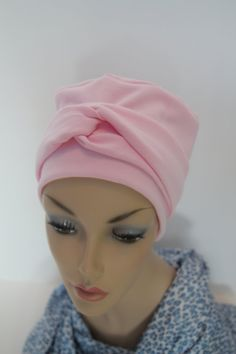 Pink Chemo Hat Cancer Cap Warm Cotton Jersey Knit by ThePinkScarab, $20.00