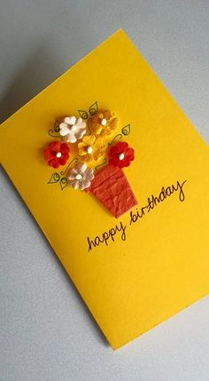 Birthday Flower Card - Happy Birthday Pot of Flowers