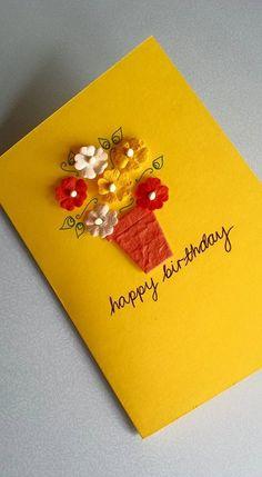 Birthday Flower Card - Happy Birthday Pot of Flowers