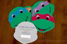 Teenage Mutant Ninja Turtles Birthday Party ~ Part 1 The Decorations. Homemade party invitations that are simple yet so adorable!