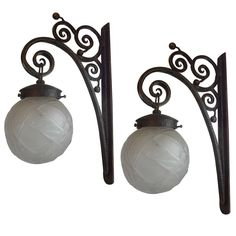 French Art Deco Edgar Brandt Inspired Wrought Iron And Glass Lantern Sconces 1