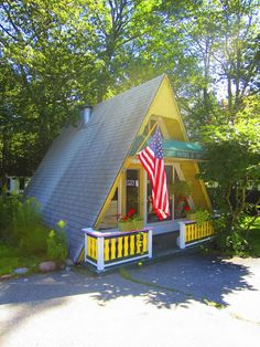 Relaxshacks.com: A Tiny Yellow A-frame Cabin/Cottage in Maine
