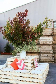 rustic wooden pallet wedding seats