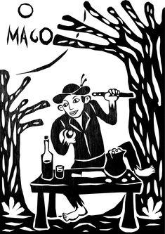 taro_sobreotatame Arte Popular, Tarot Major Arcana, Ex Libris, Outsider Art, Gravure, Tarot Cards, The Magicians, Witchcraft, Printmaking
