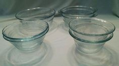 Fire King Oven Glass Sapphire Blue 5-8-10oz Bowls Clear Etched