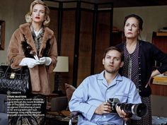 """The Terrier and Lobster: """"Window Dressing"""": Carolyn Murphy as Grace Kelly with Tobey Maguire Recreate Hitchcock's Rear Window by Peter Lindbergh for US Vogue April 2013"""