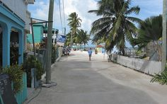front street in Caye Caulker, Belize - have pictures of Dan and I bicycling in this exact spot