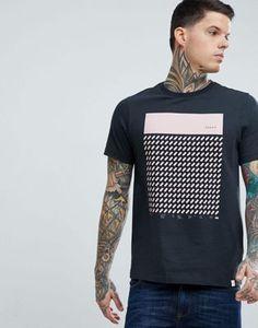 Farah Chestering Slim Fit Block Print T-Shirt in Black