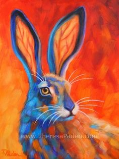 Vibrant Contemporary Wildlife Art, Southwest Jack Rabbit by Theresa Paden, painting by artist Theresa Paden