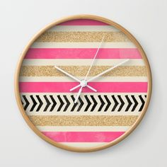 PINK AND GOLD STRIPES AND ARROWS Wall Clock