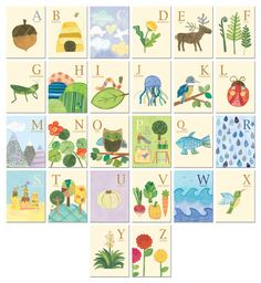 Nature's Alphabet - 26 illustrated wall cards