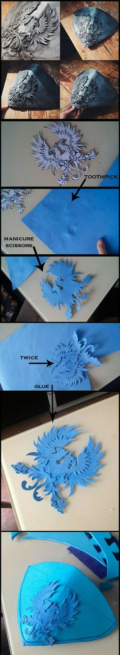 How to make an emblem on metal using foam cosplay costume armour detail tutorial