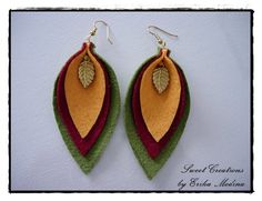 Felt is a fun textile material that is both colorful and creative to use. You can combine these natu Diy Earrings, Leather Earrings, Leather Jewelry, Leather Craft, Leaf Earrings, Fabric Jewelry, Beaded Jewelry, Handmade Jewelry, Jewellery