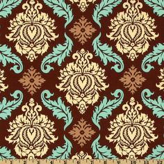 Aviary 2 Damask Bark from @fabricdotcom  Designed by Joel Dewberry for Free Spirit Fabric, this cotton print fabric features an all over damask design.  Colors include bark, aqua, cream and tan.  Use fabric for quilts, home decor accents and craft projects.
