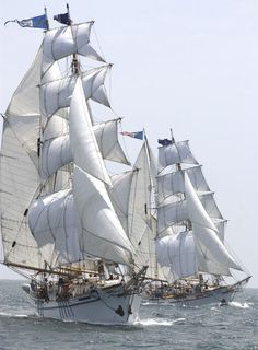 """The twin brigantines, """"Irving Johnson"""" and """"Exy Johnson"""", under full sail with Harbor area youth. As far we know, these identical tall ships are the only twin brigantines in the world!:"""