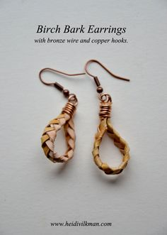 Birch Bark Earrings - Natural Jewellery - Plaited Earrings - Silver Birch - Bronze and Copper. £11.00, via Etsy.