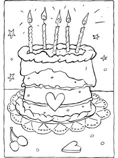 Taart met 5 kaarsjes Birthday Wall, Birthday Wishes, Easter Coloring Pages, Coloring Books, Matching Games For Toddlers, Happy Birthday Images, Diy For Kids, Activities For Kids, Art Drawings