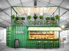 container coffee shop Pop-up Container Cafe - NAPP Architects Cafe Shop Design, Cafe Interior Design, Retail Interior, Store Design, Design Café, Kiosk Design, Container Buildings, Container Architecture, Shipping Container Restaurant