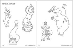 Fun circus animals, printout for kids or craft project, from first palette