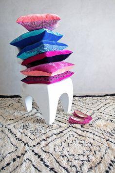 Beni Ourain + jewel toned velvet!  https://www.etsy.com/listing/169279693/moroccan-beni-ourain-rug-mid-century