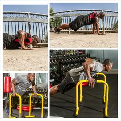 Push-ups anywhere! We love the Lebert Equalizers but you can do these on the ground- modify on your knees- use a bar or back of a sofa... No excuses!