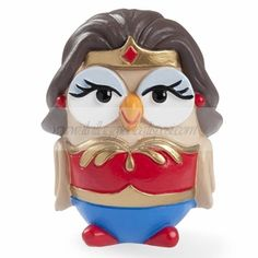 Portafortuna bomboniera in ceramica gufo Wonder Woman/ Wonder Owl. www.ilvillaggiodeglisposi.com