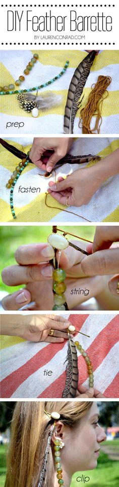 love this feather barrette DIY for #Coachella