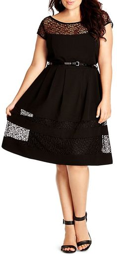 Plus Size Lace Inset Fit and Flare Dress