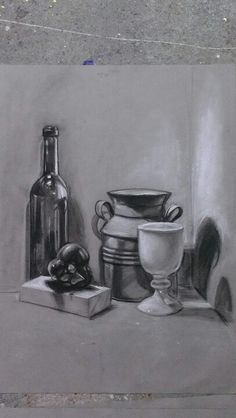 Still life in charcoal.