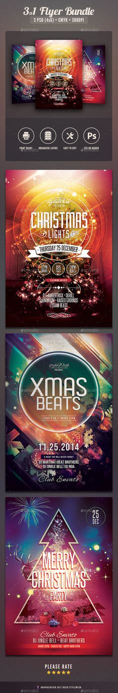 Buy Christmas Flyer Bundle by styleWish on GraphicRiver. Christmas Flyer Bundle The PSD files are very well organized in folders and layers. Christmas Lights, Merry Christmas, Holiday Lights, Christmas Flyer Template, Flyer Printing, Xmas Party, Party Flyer, Photoshop, Consulting Logo