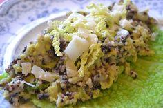 Quinoa Risotto mit Wirsing und Champignons - Quinoa ist eine tolle Abwechsung zu Reis und die Verbindung mit Wirsing schmeckt super! Quinoa, Risotto, Super, Drink, Ethnic Recipes, Food, Savoy Cabbage, Culinary Arts, Rice