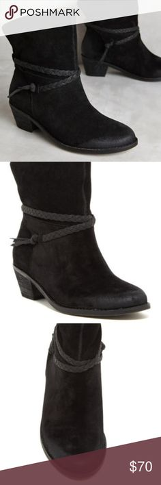 "Suede Leather Black Western Booties Latigo 'Dosha' Slip On Suede Black Booties Casual Black Booties Size 9.5  Details: With a design education from Parsons and The New School, Naomi Reid loves searching for the perfect vintage elements to give Latigo shoes their street- style look.  Fits true to size Back zip Suede upper Braided detail Leather insole Synthetic sole 2"" stacked leather heel  Brand New without tags or Box Latigo Shoes Ankle Boots & Booties"