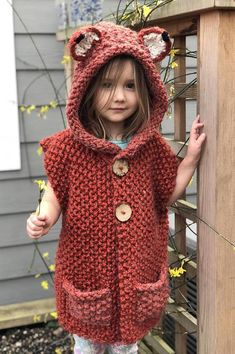FOX vest Knitting pattern by Simona Dan - This pattern is a beginner/intermediate pattern. Each part of this vest is knitted individually and - Knit Vest Pattern, Poncho Knitting Patterns, Knitted Poncho, Crochet Patterns, Hooded Poncho, Knitting For Kids, Crochet For Kids, Crochet Baby, Knit Crochet